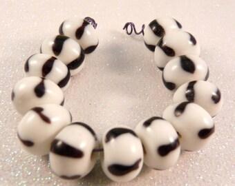 Lampwork Beads Lampwork Rondelles Black and White Beads Lampwork Spacers Glass Beads Black Beads