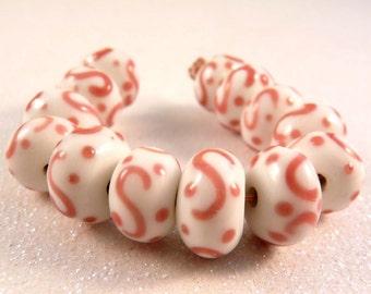 Lampwork Beads15 Pink Swirl Lampwork Rondelles Glass Beads