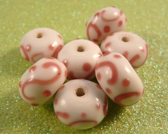Lampwork Beads Pink Beads  Lampwork Rondelles Pink Swirl Beads Glass Beads White Beads Rondelle Beads