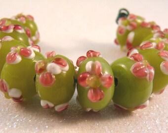 Lampwork Beads Applique Beads Flower Beads Glass Beads Lampwork Rondelles Lampwork Spacers