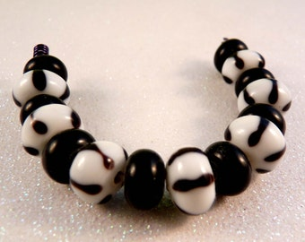 Lampwork Beads Lampwork Rondelles Glass Beads Black Beads Striped Beads