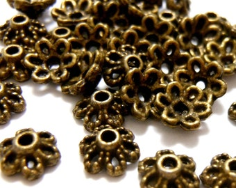 Bead Caps 30 Brass Bead Caps Brass Findings Brass Spacers Brass Beads Bronze Bead Caps Bronze Beads Brass Beads Filigree Bead Caps