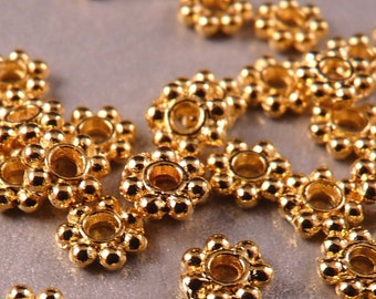 Gold Spacers 100 4mm Shiny Gold Daisy Spacers Gold Findings Gold Beads Metal Beads Gold Spacers