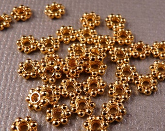 Daisy Spacers 50 4mm Shiny Gold Daisy Spacers Gold Findings
