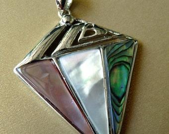 Abalone Pendant Mother of Pearl Silver Pendant Metal Pendant