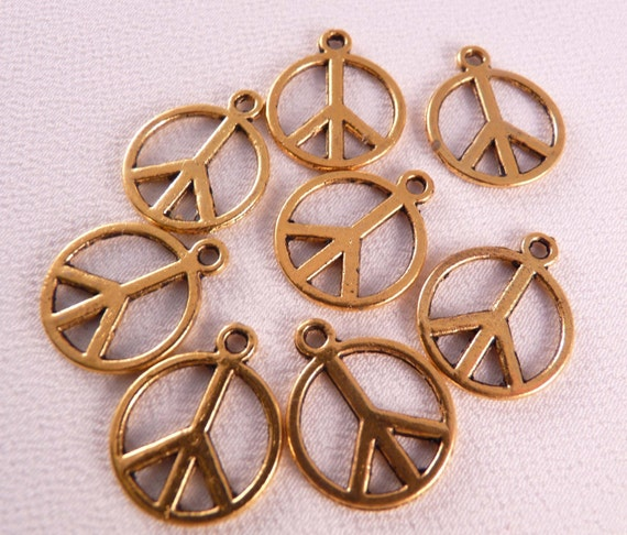 Gold Peace Sign Charms 8 Peace Sign Beads Gold Findings Gold Charms