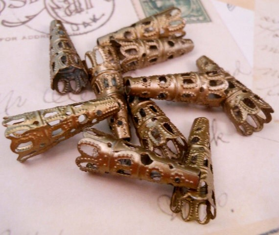 Antique Brass Bead Caps Stamped Filigree Cones Brass Findings