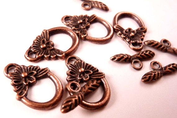 Copper Toggle Clasps Flower Toggle Clasp Copper Findings