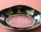 Serving Dish of Reverse Painted Glass with Gilding and Enamel -- Moths and Flowers