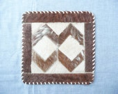 Pieced or Patchwork Ponyskin Fur Doily -- Square Chevron