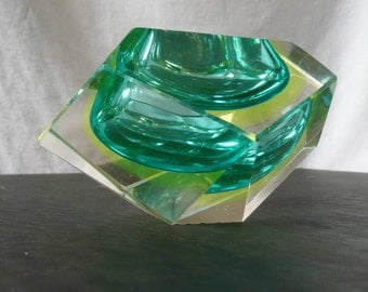 1960s or 70s Cut Art Glass Sculpture -- Faceted Like a Gem