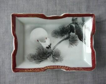 Antique Japanese Handpainted Cranes Porcelain Dish or Plate