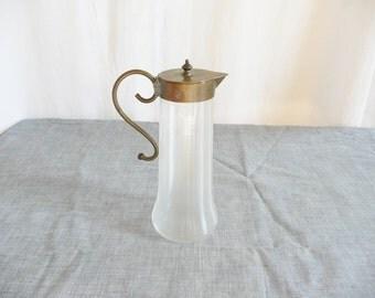 Victorian Art Glass Ewer or Serving Pitcher -- Lidded Pontil Mouthblown