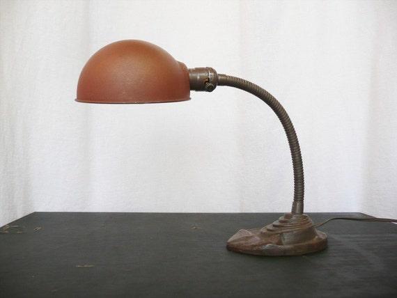 Antique Industrial Gooseneck Lamp -- Cast Iron Base