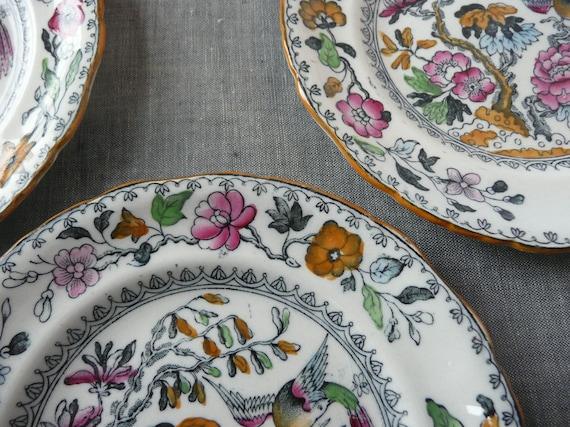Four Early Bird Transferware Plates -- Mid-19th Century Ashworth Brothers, Hanley England