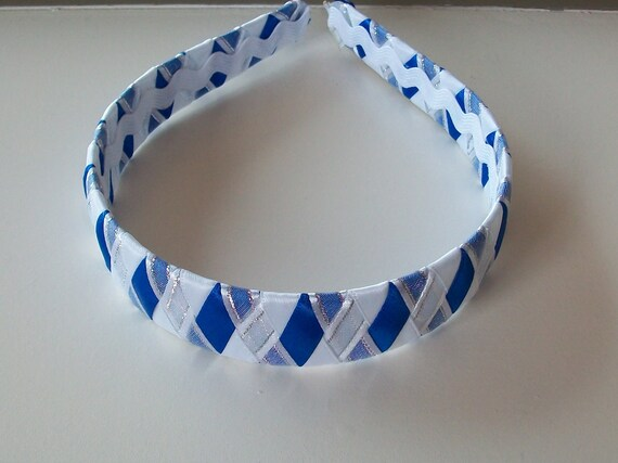 Blue and White Woven Headband