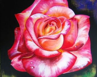 ROSE IN BLOOM 32 x 32 inches - New original painting by Galina