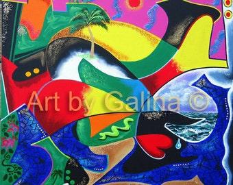 PUERTO RICO PANORAMA - Beyond Mountain Rainge - Textured Original Painting by Galina