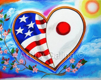 """From Heart to Heart - 18 x 24"""" Acrylic Original Painting on Stretched Canvas - as a solidarity art for Japanese Earthquake Tsunami disaster"""