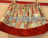 Skirt TUTORIAL Simple Skirt PDF Pattern for Girls and Toddlers sizes 18-24months to girls 8. Spring. Boutique Style. Instant Download.