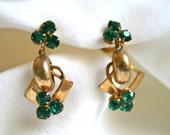 Deep Green Rhinestone Earrings