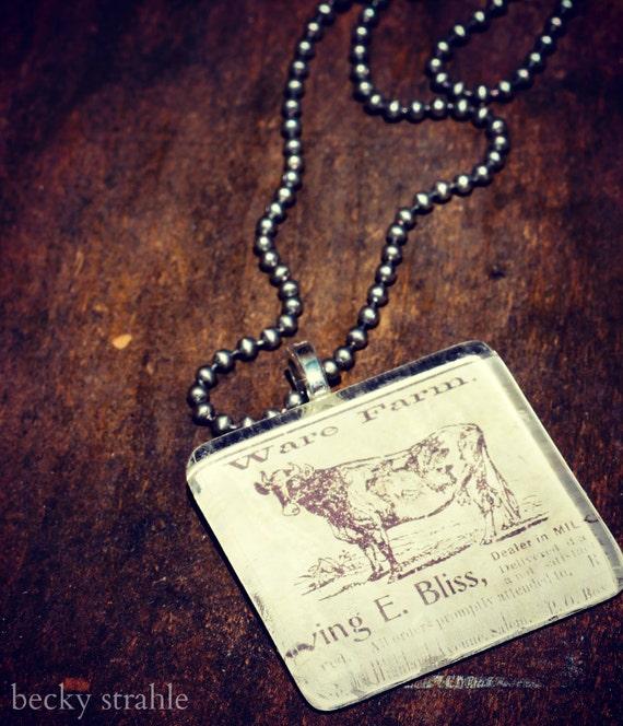 vintage cow glass pendant
