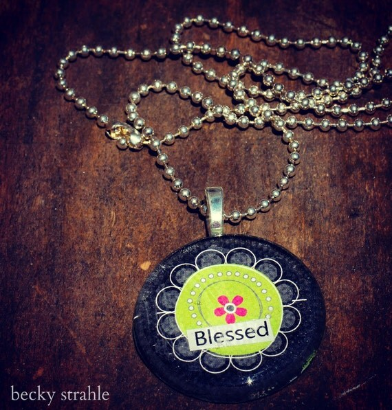 blessed glass pendant necklace