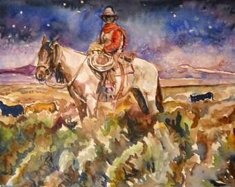 Starlight Cowboy Watercolor Art Print by Maure Bausch