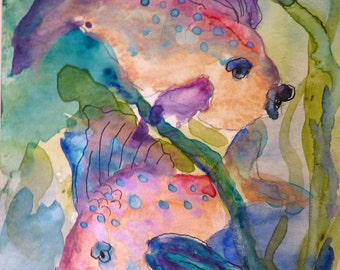 Pisces Watercolor Print by Maure Bausch