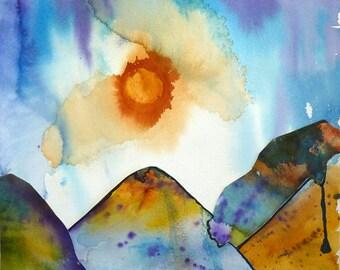 Art Junk Mountains Collage Print by Maure Bausch