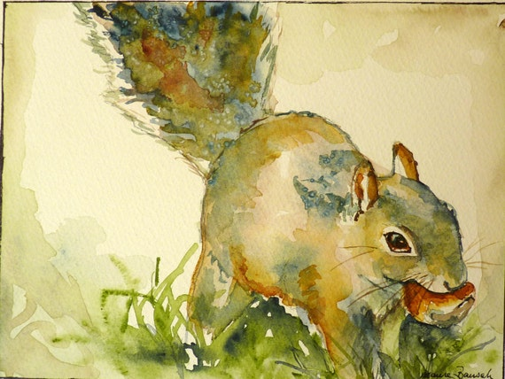 Squirrel Original Watercolor Painting by Maure Bausch