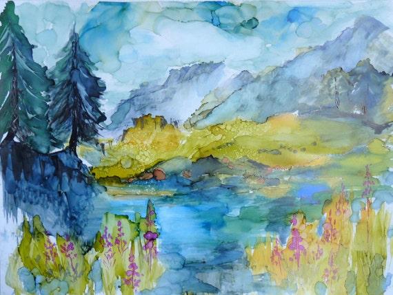 Alcohol Ink Landscape Print by Maure Bausch