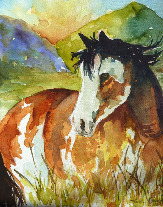 Horse Watercolor Print by Maure Bausch