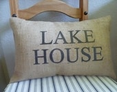 "13 x 19 ""Lake House"" Everyday Home Series Burlap Pillow Cover - AislinnCreations"