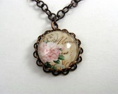 Vintage Look French Rose Postcard Necklace - Medium Chain