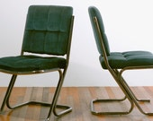 SALE///  Mid Century Forest Green Chromcraft Chairs - theModernEclectic