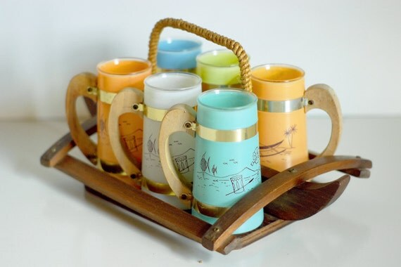 SALE///  Tiki Mid-Century Siesta Ware Polynesian Glass Set and Caddy