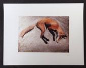 Jumping Fox oil painting print