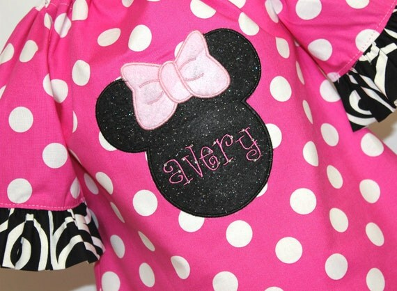 Pink Polka Dotted Minnie Mouse Outfit Custom sizes 12mo 24mo 2 T 3T 4T