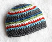 Multi-colored Striped BOY hat - NEWBORN size - Photography Prop