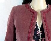 Vintage 60s Mauve VELVET CROP JACKET victorian trim Portland XS S Hippie Boho Glam