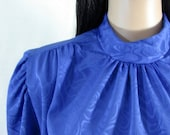 1980's ROYAL BLUE BLOUSE high neck Raffie Lg