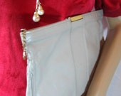 1980's Vintage GREY LEATHER CLUTCH 12 x 7 inches