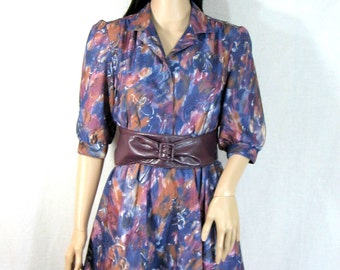 Vintage 80s Floral Puff Sleeve MINI DRESS purple blue S M disco glam