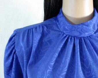 1980's ROYAL BLUE BLOUSE high neck Raffie Lg