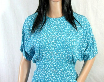 TEAL FLORAL DRESS 1980s Slouch S M pockets secretary glam