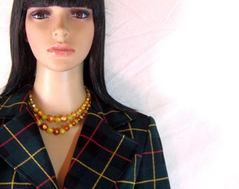 1970's Green Plaid Blazer by Sutter Place Union Made USA size small/medium 10jr