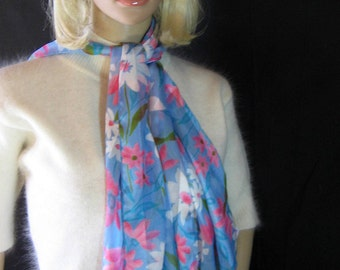 "1980's Spring Floral Print Oblong SCARF Silky Satin  Striped Measurement is 14"" x 60"""