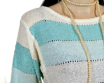 1980's Teal Striped SLOUCH SWEATER by Shapely Knits size small / medium