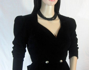 80's BLACK VELVET JACKET with Bow by Samantha Black